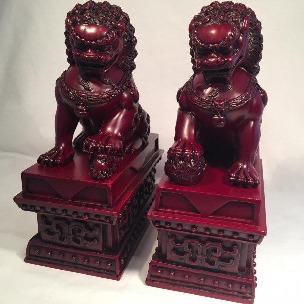 Kinesiske løver røde, store, (2 stk)